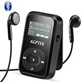AGPTEK Bluetooth 4.0 8GB MP3 Player mit Clip, Sport HiFi Musik Player, FM-Radio, Sprachaufnahme, mit Silikonhülle und Armband, unterstützt bis zu 128 GB, Schwarz A26TB