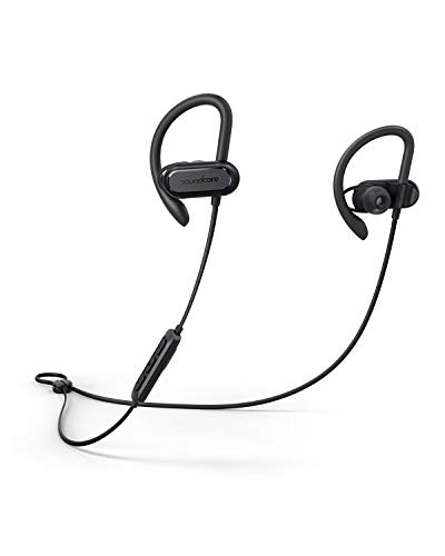 Soundcore Spirit X Bluetooth Kopfhörer, Bluetooth 5.0 Sport Kopfhörer mit IPX7 SweatGuard Technologie, 12 Stunden Akkulaufzeit, Super Halt und Fantastischem Sound, für iPhone, Samsung usw. (Schwarz)