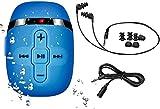 2018 HiFi Sound wasserdicht MP3-Musik-Player zum Schwimmen und Laufen, Unterwasser-Kopfhörer mit kurzem Kabel (3 Arten Ohrhörer), Shuffle-Funktion (Full Blue)