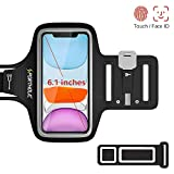 PORTHOLIC Running Armband for iPhone 11 Pro XS X 8 7 6, Sweatproof Phone Case Holder Arm Pouch with Extension Strap, Key Slot, Card Slot, Earphone Holder Gym Sports Jogging Running, Up to 6.1 inch