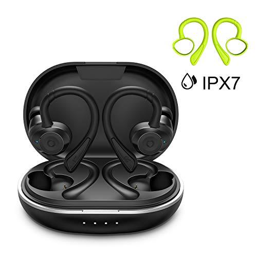 HolyHigh Bluetooth Sport Kopfhörer Bluetooth 5.0 Kabellose Ohrhörer mit Mikrofon Wasserdicht IPX7 6+30H Spielzeit Auto Pairing Siri Aktivierung Stereo Lärmminderung Headsets für iOS, Android