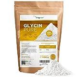 Glycin Pure - 1100 g (1,1 kg) reines Pulver ohne Zusatzstoffe - Mit Messlöffel - Laborgeprüft - 100% Glycine Aminosäure - Vegan