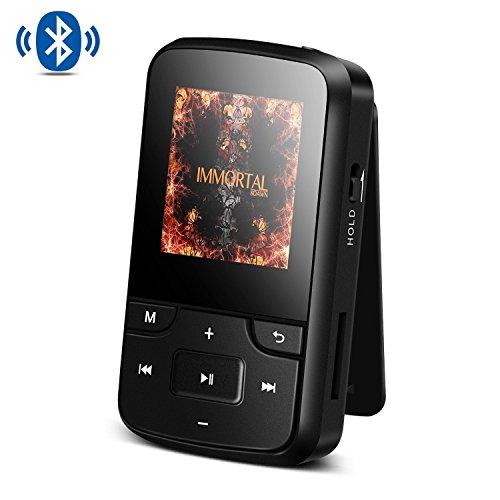 Bluetooth 4.0 8GB Tragbare MP3 Player mit Clip, HD Bildschirm, Diktiergeräte, FM Radio, Lossless Sound, unterstützt bis 128 GB SD Karte von AGPTEK G6, Schwarz