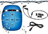8GB Wasserdichter MP3 Player zum Schwimmen und Laufen mit 16 Stunden Spielzeit, MP3 Player Wasserdicht mit Unterwasser Kopfhörer (3 Arten Ohrhörer), mit Shuffle Funktion (Blue)