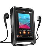 MP3 Player, 16GB Bluetooth MP3 Player mit 2.4' LCD Touchscreen, Sports MP3 Player mit Kopfhörer/FM Radio/Voice Recorder, Unterstützt bis 128 GB SD Karte(Kopfhörer, Armband, Schlüsselband inklusive)