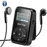 AGPTEK Bluetooth 4.2 8GB MP3 Player mit Clip, Sport HiFi Musik Player, FM-Radio, Sprachaufnahme, mit Silikonhülle und Armband, unterstützt bis zu 128 GB, Schwarz A26TB
