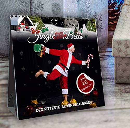 Jingle (them Kettle) Bells! Der fitteste Adventskalender by Johannes Kwella, 48 Workouts (je 1 Kettlebell- & 1 Bodyweight-Workout pro Tag), Tischkalender, 20x20cm