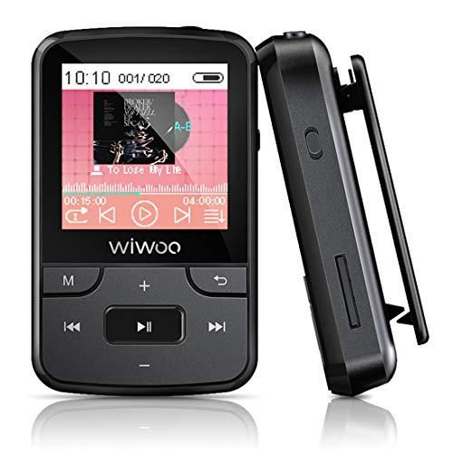 Wiwoo Bluetooth MP3 Player, 16GB Sport MP3 Musik Player mit Clip Radio Sprachaufnahme Silikonhülle kopfhörer Armband Speicher Erweiterbar bis zu 128 GB (F3)