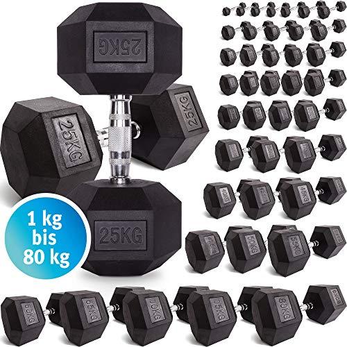 C.P. Sports Hexagon Kurzhantel Gummi 1-60 kg - mit Beschichtung und ergonomischen Chrom-Griff, Kurzhantel, Kurzhantel-Set, Dumbbel, rutschsicher (1kg-Paar)