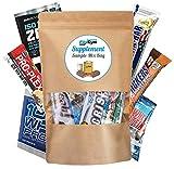 Supplement Sample Mix Box Bag – verschiedene Fitnessriegel + verschiedene Shakes diverser bekannter Markenhersteller | Auch als Fitness Geschenk ideal | abwechslungsreich & lecker | FlixGym