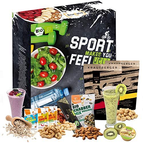 BIO Adventskalender 2020 für Sportler I Bodybuilding I gesundheitsbewusste Menschen Geschenkbox I 24 proteinreiche Produkte I Muskelaufbau I Abnehmen Adventszeit I gesund durch die Adventszeit